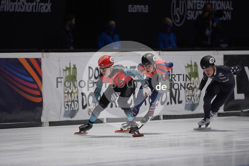 SPEEDSKATING: DORDRECHT: 06-03-2021, ISU World Short Track Speedskating Championships, RF 500m Men, Furkan Akar (TUR), Nico Andermann (AUT), Andrew Heo (USA), ©photo Martin de Jong