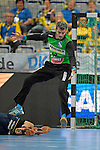 GER - Mannheim, Germany, September 23: During the DKB Handball Bundesliga match between Rhein-Neckar Loewen (yellow) and TVB 1898 Stuttgart (white) on September 23, 2015 at SAP Arena in Mannheim, Germany. (Photo by Dirk Markgraf / www.265-images.com) *** Local caption *** Sebastian Arnold #16 of TVB 1898 Stuttgart