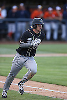 Tommy Pluschkell (44) of the Cal Poly Mustangs runs to first base during a game against the Cal State Fullerton Titans at Goodwin Field on April 2, 2015 in Fullerton, California. Cal Poly defeated Cal State Fullerton, 5-0. (Larry Goren/Four Seam Images)