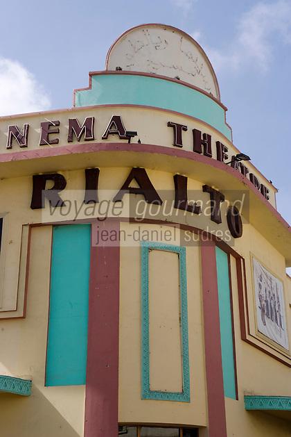 Afrique/Afrique du Nord/Maroc /Casablanca: façade art-déco du cinéma théatre le Rialto rue Med Qorri