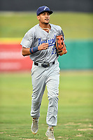 Pensacola Blue Wahoos center fielder Jose Siri (22) jogs back to the dugout during a game against the Tennessee Smokies at Smokies Stadium on August 30, 2018 in Kodak, Tennessee. The Blue Wahoos defeated the Smokies 5-1. (Tony Farlow/Four Seam Images)