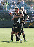 Christine Sinclair celebrates with Rachel Buehler (4) after her goal. Washington Freedom defeated FC Gold Pride 4-3 at Buck Shaw Stadium in Santa Clara, California on April 26, 2009.