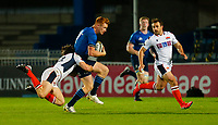 16th November 2020; RDS Arena, Dublin, Leinster, Ireland; Guinness Pro 14 Rugby, Leinster versus Edinburgh; Ciarán Frawley of Leinster is tackled by Chris Dean of Edinburgh