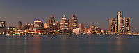 Detroit, Detroit River, Michigan, cityscape