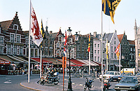Bruges: Stepped gable houses, The Markt,outdoor cafes. Photo '87.