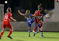 Lyndsey Van Belle (14) of AA Gent and Kenza Vrithof (9) of Woluwe battle for the ball during a female soccer game between FC Femina White Star Woluwe and AA Gent Ladies on the 13 th matchday of the 2020 - 2021 season of Belgian Scooore Womens Super League , friday 5 th of February 2021  in Woluwe , Belgium . PHOTO SPORTPIX.BE | SPP | SEVIL OKTEM