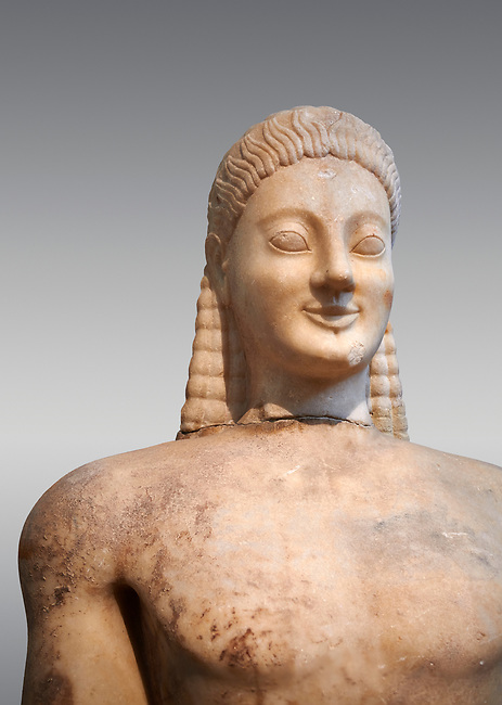 Parian marble Ancient Greek Archaic statue of a kouros, found in Volomandra, Attica. Circa 560-550 BC, Athens National Archaeological Museum. Cat no 1906. Against grey.<br /> <br /> Probably from the grave of an athenian aristocrat