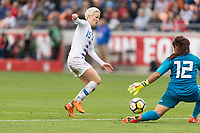 Houston, TX - Sunday April 08, 2018: Megan Rapinoe, Cecilia Santiago during an International Friendly soccer match between the USWNT and Mexico at BBVA Compass Stadium.
