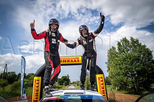 3rd July 2021, Liepaja, Latvia;  TORN Ken (EST), PANNAS Kauri (EST), M-SPORT POLAND, Ford Fiesta celebrate after  the 2021 FIA ERC Rally Liepaja, 2nd round of the 2021 FIA European Rally Championship