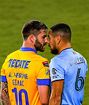 Forward Andre-Pierre Gignac of Tigres UANL (MEX) faces off Alexander Callens of New York City FC (USA) during their Scotiabank Concacaf Champions League Quarter Finals match at the Orlando's Exploria Stadium on 15 December 2020, in Florida. Photo by Victor Fraile / Power Sport Images