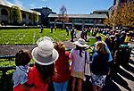 LEXINGTON, KENTUCKY - APRIL 08: Fans wait near the paddock on Blue Grass Stakes Day at Keeneland Race Course on April 8, 2017 in Lexington, Kentucky. (Photo by Scott Serio/Eclipse Sportswire/Getty Images)