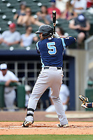 Corpus Christi Hooks shortstop Jiovanni Mier (5) at bat during a game against the NW Arkansas Naturals on May 26, 2014 at Arvest Ballpark in Springdale, Arkansas.  NW Arkansas defeated Corpus Christi 5-3.  (Mike Janes/Four Seam Images)