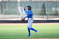 Toronto Blue Jays shortstop Marcos De La Rosa (22) gets under a popup during an Extended Spring Training game against the Philadelphia Phillies on June 12, 2021 at the Carpenter Complex in Clearwater, Florida. (Mike Janes/Four Seam Images)