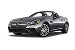 Stock pictures of low aggressive front three quarter view of 2018 Mercedes Benz SLC-Roadster AMG-SLC43 2 Door Convertible Low Aggressive