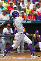 Louisiana State outfielder Raph Rhymes (4) follows through on his swing against the North Carolina Tar Heels during Game 7 of the 2013 Men's College World Series on June 18, 2013 at TD Ameritrade Park in Omaha, Nebraska. The Tar Heels defeated the Tigers 4-2, eliminating LSU from the tournament. (Andrew Woolley/Four Seam Images)