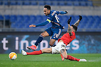 18th February 2021, Rome, Italy;  Pierre-Emerick Aubameyang of Arsenal FC competes for the ball with Nicolas Otamendi during the UEFA Europa League round of 32 Leg 1 match between SL Benfica and Arsenal at Stadio Olimpico, Rome, Italy on 18 February 2021.
