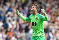 Blackburn Rovers' Jayson Leutwiler celebrates his side's first goal <br /> <br /> Photographer Andrew Kearns/CameraSport<br /> <br /> The EFL Sky Bet Championship - Blackburn Rovers v Bolton Wanderers - Monday 22nd April 2019 - Ewood Park - Blackburn<br /> <br /> World Copyright © 2019 CameraSport. All rights reserved. 43 Linden Ave. Countesthorpe. Leicester. England. LE8 5PG - Tel: +44 (0) 116 277 4147 - admin@camerasport.com - www.camerasport.com