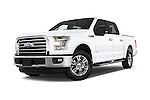 Stock pictures of low aggressive front three quarter view of a 2015 Ford F-150 XLT SuperCrew 145-in Door Pickup Low Aggressive