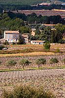 view over the vineyard, small Provencal village in the background Chateau Vannieres (Vannières) La Cadiere (Cadière) d'Azur Bandol Var Cote d'Azur France