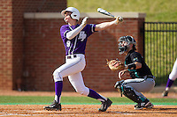 Chris Clare (9) of the High Point Panthers follows through on his swing against the Coastal Carolina Chanticleers at Willard Stadium on March 15, 2014 in High Point, North Carolina.  The Chanticleers defeated the Panthers 1-0 in game one of a double-header.  (Brian Westerholt/Four Seam Images)