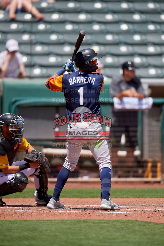 Luis Barrera (1) of the Las Vegas Aviators at bat against the Salt Lake Bees at Smith's Ballpark on June 27, 2021 in Salt Lake City, Utah. The Aviators defeated the Bees 5-3. (Stephen Smith/Four Seam Images)