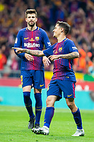 FC Barcelona Gerard Pique and Phillippe Coutinho celebrating a goal during King's Cup Finals match between Sevilla FC and FC Barcelona at Wanda Metropolitano in Madrid, Spain. April 21, 2018. (ALTERPHOTOS/Borja B.Hojas)