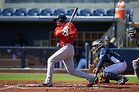 GCL Red Sox outfielder Trent Kemp (43) at bat in front of catcher Rafelin Lorenzo (8) during the first game of a doubleheader against the GCL Rays on August 4, 2015 at Charlotte Sports Park in Port Charlotte, Florida.  GCL Red Sox defeated the GCL Rays 10-2.  (Mike Janes/Four Seam Images)