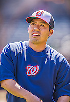 21 April 2013: Washington Nationals catcher Kurt Suzuki stretches out prior to a game against the New York Mets at Citi Field in Flushing, NY. The Mets shut out the visiting Nationals 2-0, taking the rubber match of their 3-game weekend series. Mandatory Credit: Ed Wolfstein Photo *** RAW (NEF) Image File Available ***