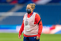 LE HAVRE, FRANCE - APRIL 13: Laura Harvey of the USWNT watches her team before a game between France and USWNT at Stade Oceane on April 13, 2021 in Le Havre, France.