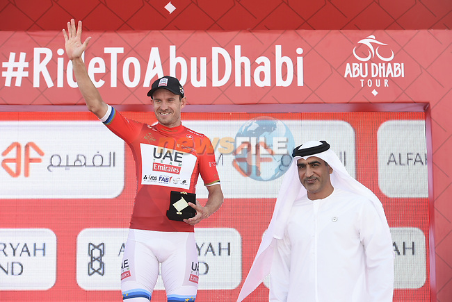 European Champion Alexander Kristoff (NOR) UAE Team Emirates wins Stage 1 and the race leaders jersey of the 2018 Abu Dhabi Tour, Al Fahim Stage running 189km from Madinat Zayed to Adnoc School, Abu Dhabi, United Arab Emirates. 21st February 2018.<br /> Picture: LaPresse/Fabio Ferrari | Cyclefile<br /> <br /> <br /> All photos usage must carry mandatory copyright credit (© Cyclefile | LaPresse/Fabio Ferrari)