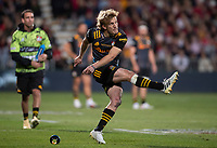 Damien McKenzie kicks for goal during the 2021 Super Rugby Aotearoa final between the Crusaders and Chiefs at Orangetheory Stadium in Christchurch, New Zealand on Saturday, 8 May 2021. Photo: Joe Johnson / lintottphoto.co.nz