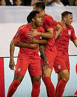 NASHVILLE, TN - JULY 3: Weston Mckennie #8 celebrates his goal with other members of the USA during a game between Jamaica and USMNT at Nissan Stadium on July 3, 2019 in Nashville, Tennessee.