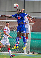 5 September 2014: University of Massachusetts River Hawks Midfielder Richard Mulo, a Freshman from Malden, MA, in action against the St. Francis College Terriers at Virtue Field in Burlington, Vermont. The River Hawks defeated the Terriers 3-1, on their way to finishing the Morgan Stanley Smith Barney Windjammer Classic Men's Soccer Tournament with a 2-0 record, and being crowned as tournament champions on goal differential. Mandatory Credit: Ed Wolfstein Photo *** RAW (NEF) Image File Available ***