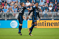 Kansas City, KS - Wednesday August 9, 2017: Tommy Thompson, Danny Hoesen, celebrate, celebration during a Lamar Hunt U.S. Open Cup Semifinal match between Sporting Kansas City and the San Jose Earthquakes at Children's Mercy Park.