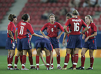 26 August 2004:  Brandi Chastain talks with the players during the second half of the game against Brazil at Karaiskaki Stadium in Athens, Greece.   USA defeated Brazil, 2-1 in overtime.   Credit: Michael Pimentel / ISI.