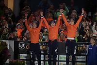 SPEEDSKATING: HEERENVEEN: 10-01- 2020, IJsstadion Thialf, European Championship distances, Podium Team Sprint Ladies, Letitia de Jong, Femke Kok, Ireen Wüst, Team NED, ©foto Martin de Jong