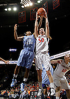 CHARLOTTESVILLE, VA- JANUARY 5: Chelsea Shine #50 of the Virginia Cavaliers reaches for the rebound with Danielle Butts #10 of the North Carolina Tar Heels during the game on January 5, 2012 at the John Paul Jones arena in Charlottesville, Virginia. North Carolina defeated Virginia 78-73. (Photo by Andrew Shurtleff/Getty Images) *** Local Caption *** Danielle Butts;Chelsea Shine