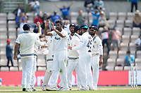 Ravichandran Ashwin, India celebrates the wicket of Tom Latham during India vs New Zealand, ICC World Test Championship Final Cricket at The Hampshire Bowl on 23rd June 2021