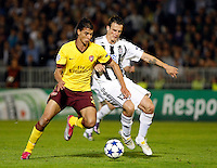 Arsenal player Marouane Chamakh, left in action against Partizan player Stefan Savic, right,  during  UEFA Champions league match in group H FC Partizan Belgrade Vs. Arsenal, London, Serbia, Monday, Sept. 28, 2010.  (Srdjan Stevanovic/Starsportphoto.com)