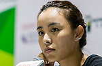 Qiang Wang of China talks to media during the WTA Prudential Hong Kong Tennis Open 2018 at the Victoria Park Tennis Stadium on 09 October 2018 in Hong Kong, Hong Kong.