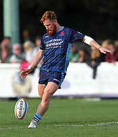Rory Jennings of London Scottish in action during the Greene King IPA Championship match between London Scottish Football Club and London Irish Rugby Football Club  at Richmond Athletic Ground, Richmond, United Kingdom on 7 October 2018. Photo by Harry Hubbard/PRiME Media Images.