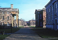 Cambridge: Downing College--looking east to Master's Lodge. Quinlan Terry's new building in shadow at right. Photo '90.
