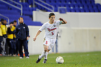Connor Lade (5) of the St. John's Red Storm. St. John's defeated Villanova 2-0 during the second semifinal match of the Big East Men's Soccer Championships at Red Bull Arena in Harrison, NJ, on November 11, 2011.