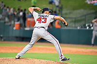 Southern Divisions pitcher Kelvin Rodriguez (42) of the Rome Braves delivers a pitch during the South Atlantic League All Star Game at First National Bank Field on June 19, 2018 in Greensboro, North Carolina. The game Southern Division defeated the Northern Division 9-5. (Tony Farlow/Four Seam Images)
