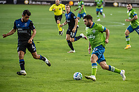 SAN JOSE, CA - OCTOBER 18: Will Bruin #17 of the Seattle Sounders dribbles the ball during a game between Seattle Sounders FC and San Jose Earthquakes at Earthquakes Stadium on October 18, 2020 in San Jose, California.