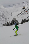 Woman skiing the Gampen Area of St Anton Ski Area, Austria