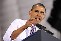 Oct 29, 2010. President Barack Obama addresses a large crowd during the campaign rally for Virginia 5th District Representative Congressman Tom Perriello Friday at the Charlottesville Pavilion in downtown Charlottesville, Va. Photo/Andrew Shurtleff