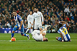 Real Madrid´s Kroos and Espanyol´s Victor S. and Diop during 2015/16 La Liga match between Real Madrid and Espanyol at Santiago Bernabeu stadium in Madrid, Spain. January 31, 2016. (ALTERPHOTOS/Victor Blanco)
