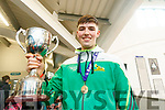 Daire Kennelly captain of the Mercy Mounthawk basketball team celebrate winning the U-19 All Ireland Basketball final at the school on Wednesday.