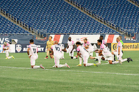 FOXBOROUGH, MA - SEPTEMBER 04: Seven minutes into the game the players all kneel to protest the racial injustice during a game between Forward Madison FC and New England Revolution II at Gillette Stadium on September 04, 2020 in Foxborough, Massachusetts.